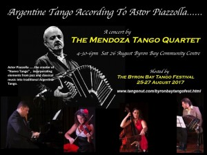 The Mendoza Tango Quartet plays Piazzolla presented by Byron Bay Tango Festival 2017 @ Byron Theatre