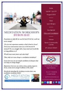 Meditation Workshop presented by The Heart of Meditation @ Byron Community Centre, Verandah Room (upstairs) | Byron Bay | New South Wales | Australia