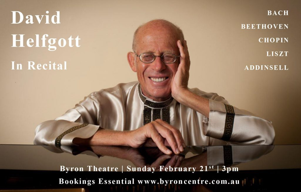 David Helfgott in Recital presented by Byron Music Society at Byron Theatre