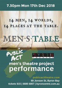 MEN.S.TABLE - Men's Theatre Project Performance presented by Public Act Theatre @ Byron Theatre | Byron Bay | New South Wales | Australia
